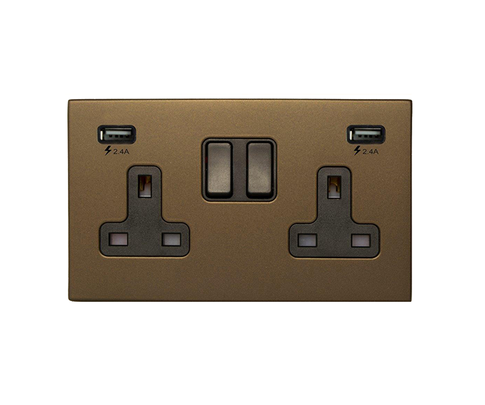 Switched UK Socket with Twin USB
